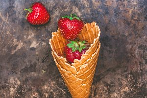 Fresh juicy strawberries in a waffle