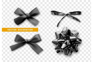 Bows color black realistic design.