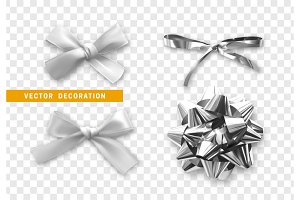 Bows color silver realistic design.