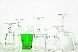 Glass goblets of different shapes an