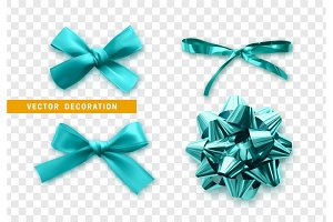 Bows color blue realistic design.