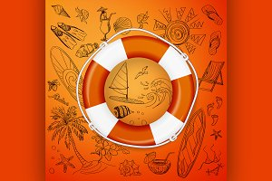 life buoy and hand draw icon
