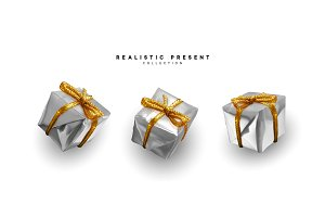 Set presents. Silver gift boxes