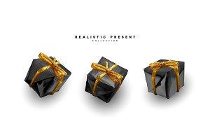 Set presents. Black gift boxes
