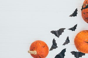 Halloween pumpkins and bats card