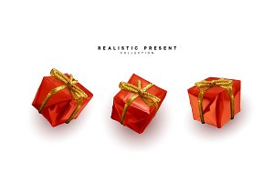 Set presents. Red gift boxes