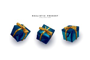 Set presents. Blue gift boxes