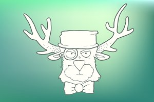 Hand-drawn cute head of hipster deer