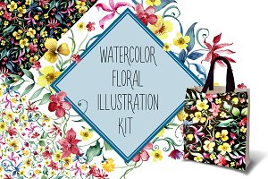 Watercolor floral illustration kit