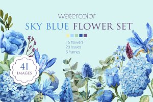 Watercolor sky blue flower set