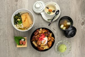 Top view of japanese foods set, chic