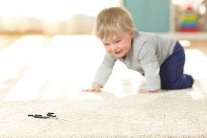 Baby in danger crawling towards