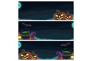 Three horizontal posters Halloween