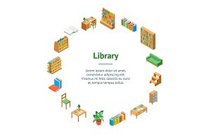Furniture for Library 3d Set