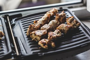 Pork-beef shish kebab prepared on a