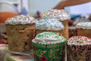 Several Kulich, a traditional Russia