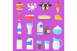 Milk Products Set. Vector