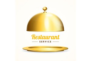 Shiny Golden Restaurant Cloche.