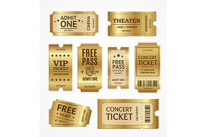 3d Golden Tickets Set. Vector