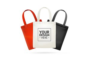 3d Tote Bag Color Set. Vector