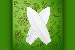 surfboard and hand draw surf icon