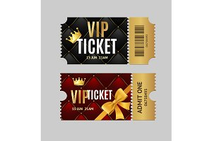 Detailed 3d Vip Tickets Set. Vector