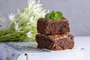 square pieces of chocolate brownie