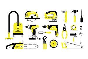 set of repair building tools icons