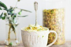 Pistachio ice cream with pistachio