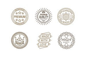 Vector set of creative linear label