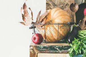 Autumn food ingredients and utensils