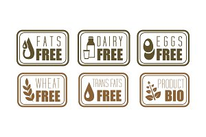 Vector set of allergen free labels