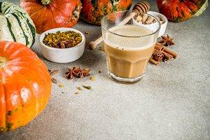 Spicy pumpkin coffee latte