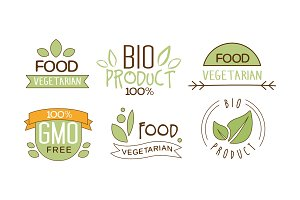 Vector set of food labels with text