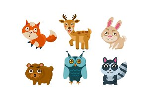 Flat vector set of cute animals