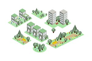 Vector set of isometric city