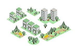 Vector set of isometric city