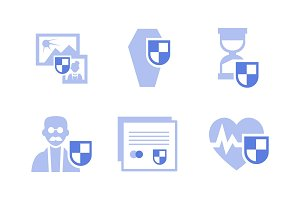 Flat vector set of insurance icons