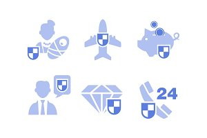 Set of insurance service icons