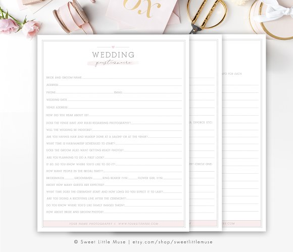 Wedding Photography Questionnaire Templates