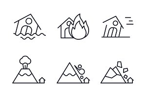 Natural disaster icons set, flood