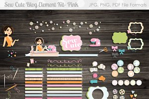 Sew Cute Blog Design Elements Kit- P