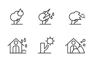 Natural disaster icons set, forest