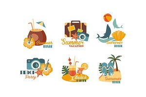 Collection of Summer logos, beach