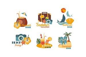 Collection of Summer logos, beach