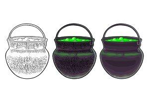 Halloween cauldron. Magic Pot with