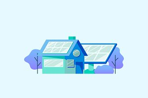 Energy saving concept solar panels