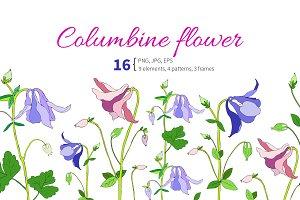 Columbine flower set