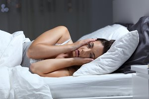 Desperate girl suffering insomnia