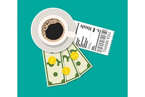 Cup with coffee, cash and coins